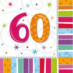 "Party-Servietten: Zahl 60, ""Bunter Geburtstag"", 33 x 33 cm, 16er-Pack - 1"
