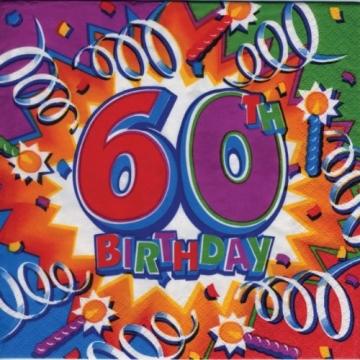 "Party-Servietten: Zahl 60, Motiv ""Birthday Explosion"", 33 x 33 cm, 16er-Pack - 2"
