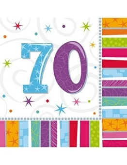 "Party-Servietten: Zahl 70, ""Bunter Geburtstag"", 33 x 33 cm, 16er-Pack - 1"