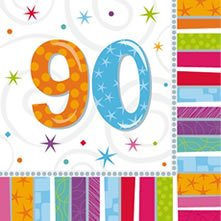 "Party-Servietten: Zahl 90, ""Bunter Geburtstag"", 33 x 33 cm, 16er-Pack - 1"