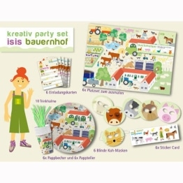 Party-Set, Bauernhof-Motiv, 46 Teile, Kindergeburtstagsdeko - 1