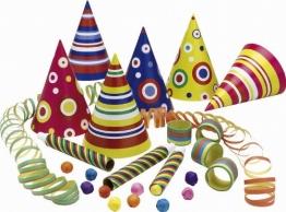 Party-Set für 10 Personen: Party-Hütchen, Luftschlangen, Blasrohre, Wattebälle - 1
