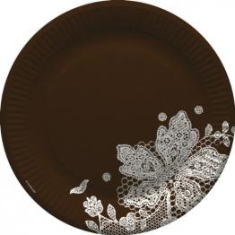 Party-Teller: Pappteller, braun, Spitzenborte, 23 cm, 8er-Pack - 1