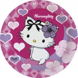 Party-Teller: Pappteller, Charmmy Kitty mit Herzen, 23 cm Durchmesser, 8er-Pack - 1