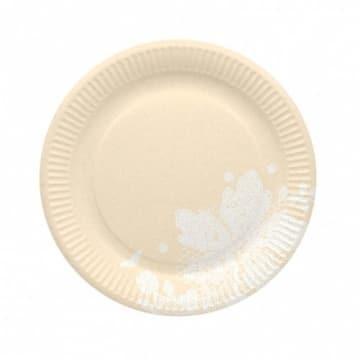 Party-Teller: Pappteller, creme, Spitzenborte, 23 cm, 8er-Pack - 1