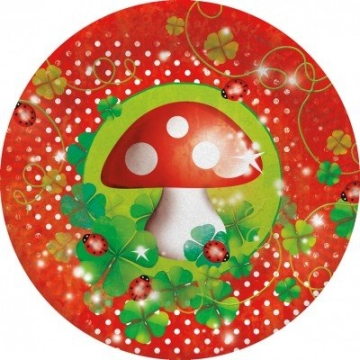 Party-Teller: Pappteller, Glückspilz-Motiv, 23 cm Durchmesser, 8er-Pack - 1