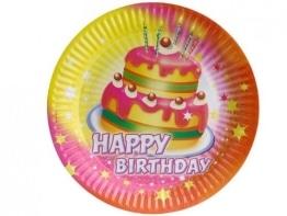 """Party-Teller: Pappteller, """"Happy Birthday"""", 23 cm, 8er-Pack - 1"""