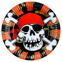 Party-Teller: Pappteller, Jolly Roger, 23 cm, 8er-Pack - 1