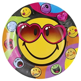 "Party-Teller: Pappteller, Motiv ""Smiley Express Yourself"", 23 cm, 8 Stück - 1"