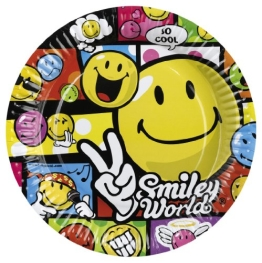"Party-Teller: Pappteller, ""Smiley World"" Comic, 23 cm, 8er-Pack - 1"