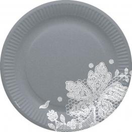 Party-Teller: Pappteller, Spitzenborte, grau-weiß, 23 cm, 8er-Pack - 1