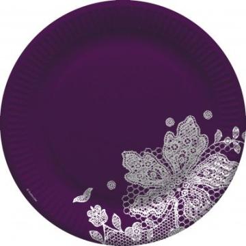 Party-Teller: Pappteller, Spitzenborte, violett-weiß, 23 cm, 8er-Pack - 1