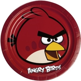 "Party-Teller: rote Pappteller, Motiv ""Angry Birds"", 23 cm, 8 Stück - 1"