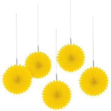 Partyfächer gelb 50cm, Restposten Partydeko - 1