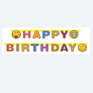 Partykette SMILEY, Happy Birthday Dekoration Smileys Spass - 1