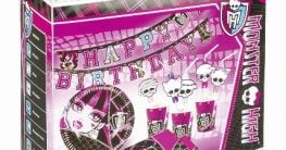 Partyset Monster High: Teller, Becher, Servietten, Trinkhalme, Einladungskarten, Partykette - 1