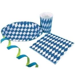 Partyteller mit blau-weißen Rauten, 8er-Pack - 1