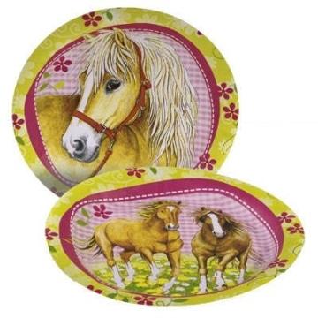 Partyteller: Pferde-Motiv, 23 cm, 8er-Pack - 1