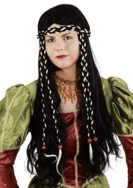 Perücke: Burgfräulein-Perücke, schwarz, lange Haare - 1