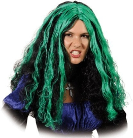 "Perücke: Damen-Perücke ""Babett"", lockig, lang, schwarz-grün - 1"