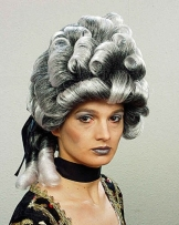 """Perücke: Damen-Perücke """"Madame de Vamp"""", Barock/Rokoko, grau-schwarz - 1"""