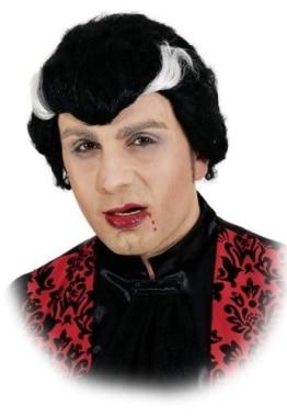 """Perücke: """"Dracula"""", schwarz mit weißen Geheimratsecken - 1"""