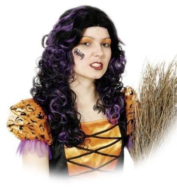 Perücke Emily: lila-schwarze Haare für die Hexe - 1