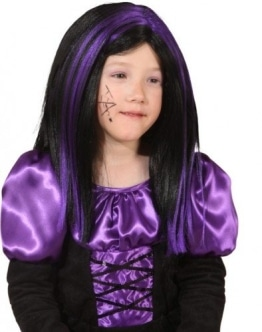 Perücke: Hexen-Perücke, lila-schwarz, Kindergröße - 1