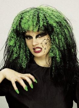 Perücke: Hexen-Perücke, neon-grün und schwarz, Langhaar - 1