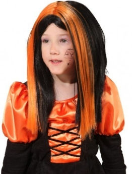 Perücke: Hexen-Perücke, orange-schwarz, Kindergröße - 1