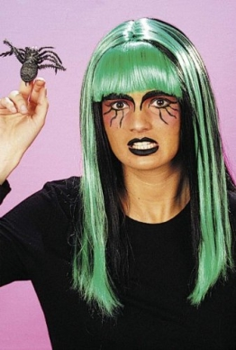 Perücke: Hexen-Perücke, schwarz-grün, Langhaar - 1