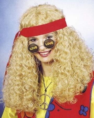 Perücke: Hippie-Perücke, blond, mit Kopfband - 1
