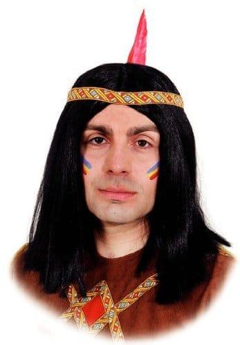 Perücke: Indianer-Perücke, lang, schwarz, mit gelb-rotem Band - 1