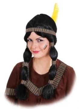 Perücke: Indianerin-Perücke, lange Zöpfe, braunes Band - 1