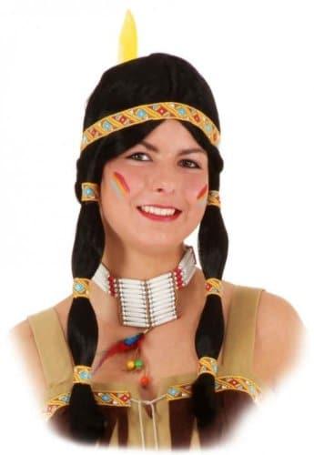 Perücke: Indianerin-Perücke, Zöpfe, gelb-rotes Band - 1