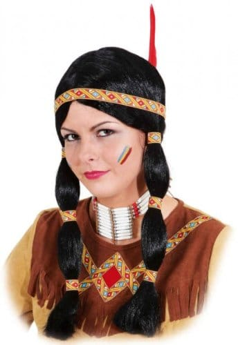 Perücke: Indianerin-Perücke, Zöpfe, gelb-rotes Band - 2