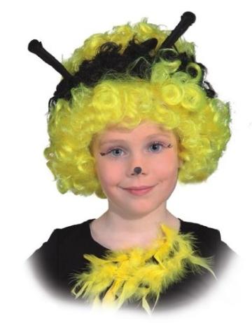 Perücke: Kinderperücke Bienchen, gelb-schwarze Locken mit Fühlern, Kindergröße - 1