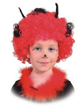 Perücke: Kinderperücke Käferchen, rot-schwarze Locken mit Fühlern, Kindergröße - 1