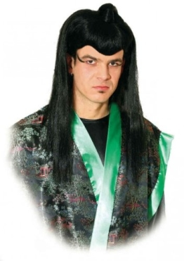 """Perücke: """"Kung-Fu-Meister"""", schwarz, lange Haare - 1"""