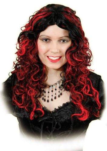 Perücke: lang gelockte rot-schwarze Haare (Emily) für Hexen-Kostüme - 1