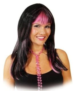 Perücke Layla schwarz-pink - 1