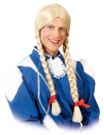 perücke: mädchen-perücke für männer, blonde zöpfe, extra