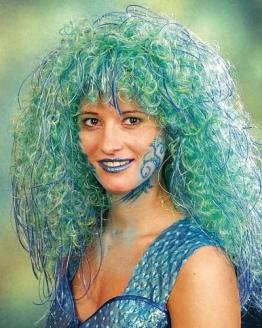 Perücke: Meerjungfrau-Perücke, blau-gruen meliert - 1