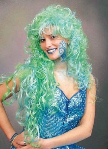 "Perücke: Meerjungfrau-Perücke ""Meermaid"", grün-blau - 1"