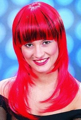 "Perücke: Perücke ""Fancy"", lange Haare mit Pony, rot-schwarz - 1"