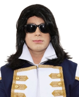 "Perücke: Popstar-Perücke ""Jackson"", glatt, schwarz - 1"