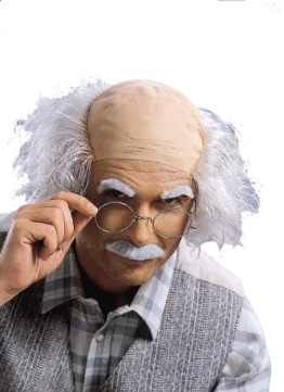 Perücke: Professor-Perücke mit Halbglatze, grau - 1