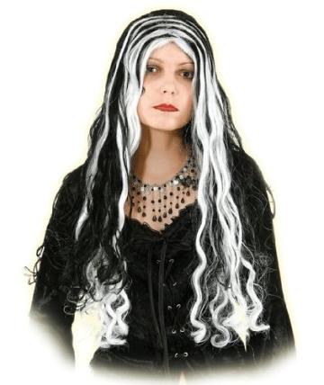 """Perücke: """"Sabrina"""", lange schwarz-weiße Haare - 1"""