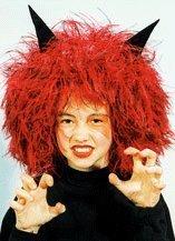 Perücke: Teufel-Perücke, rot, schwarze Hörner, Kindergröße - 1