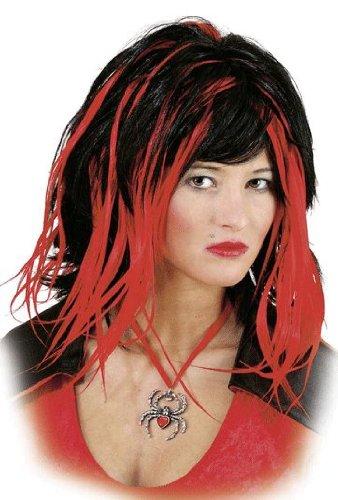 Perücke TRACY rot-schwarz, Halloween Perücken - 1